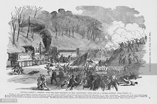 Confederate troops fire on a train carrying the 1st Ohio Volunteer Regiment near Vienna, Virginia, on June 17, 1861.