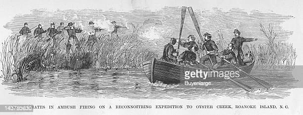 Confederates Ambush Union Reconnaissance team in a Boat on Oyster Creek Oyster Creek Roanoke Island early to mid 1860s From an issue of Frank...
