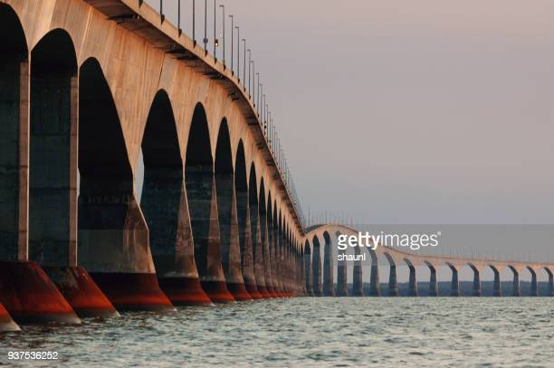 confederation bridge - seascape stock pictures, royalty-free photos & images