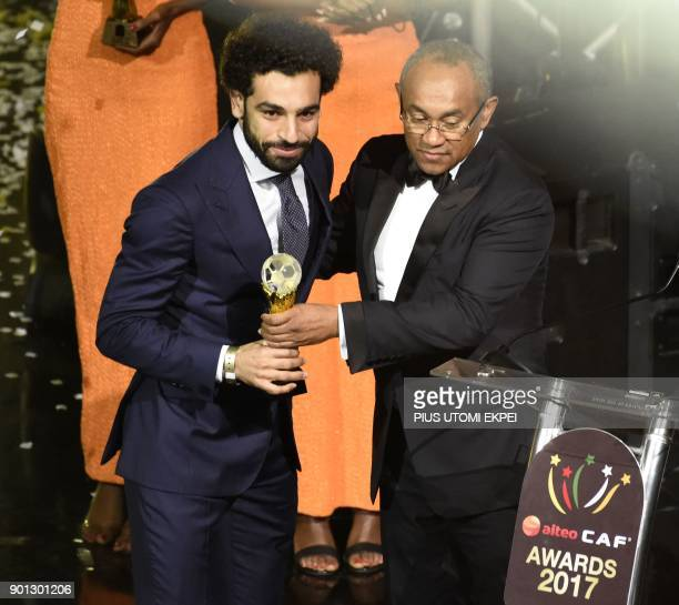 Confederation of African Football President Ahmad Ahmad presents The African Footballer of the Year Award to Egypt and Liverpool striker Mohamed...