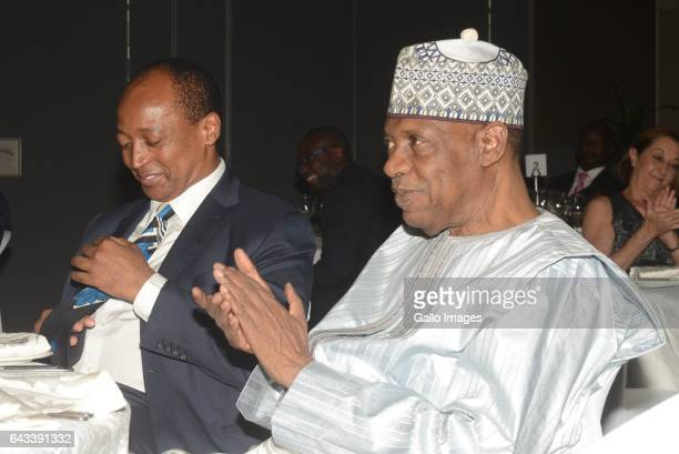 Confederation of African Football President Issa Hayatou and Mamelodi Sundowns Chairman Patrice Motsepe during a gala evening on February 17, 2017 in...