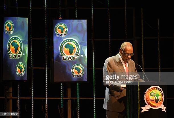 Confederation of African Football President Issa Hayatou gives an address during the African Footballer of the Year Awards in Abuja on January 5 2017...