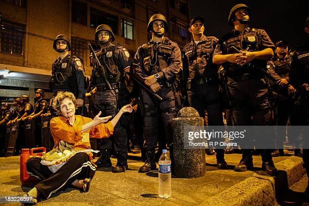 Confederations Cup finals day. Protester in front of police. São Francisco Xavier street, Tijuca, Rio de Janeiro.