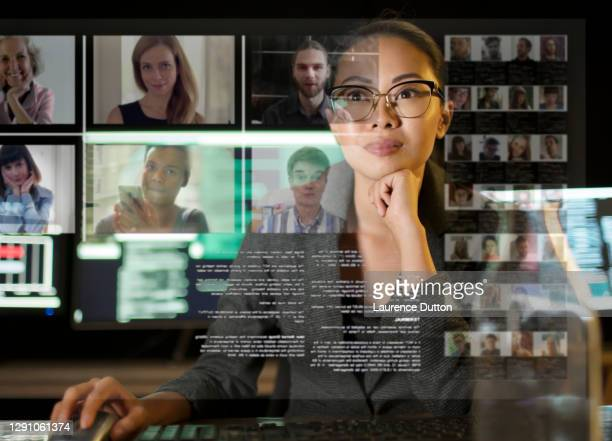 conference call multi screen woman - employee engagement stock pictures, royalty-free photos & images