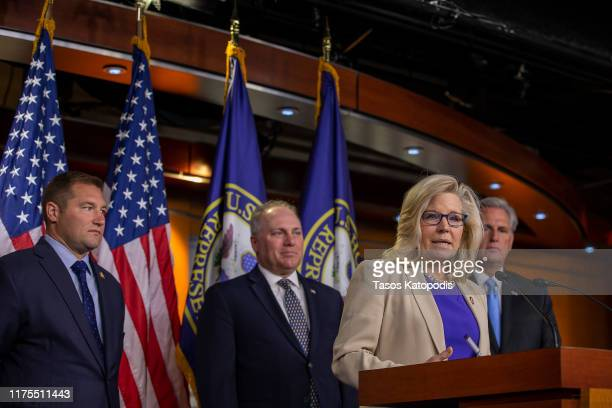 Conference Chair Liz Cheney speaks to reporters during a press conference on September 18, 2019 in Washington, DC. House Minority Leader Kevin...