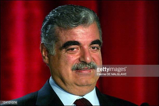 Conference for the economic reforms of Lebanon In Paris France On November 23 2002 Rafic Hariri Lebanon president
