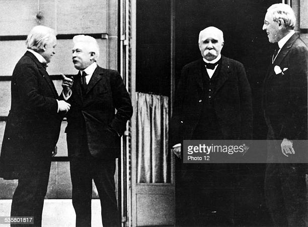 1919 Conference of peace in Paris Of left on the right one recognizes David Lloyd George Great Britain Vittorio Emanuelo Orlando Italy and George...