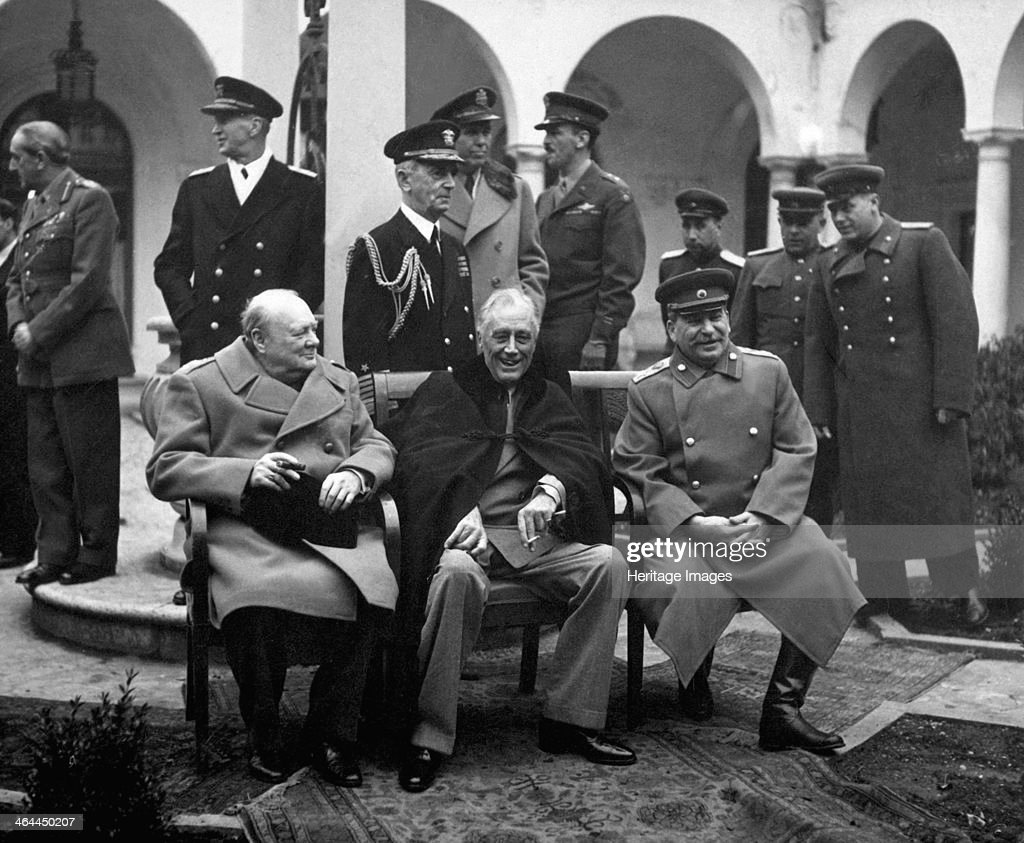 Conference of the Allied leaders, Yalta, Crimea, USSR, February 1945. British Prime Minister Winston Churchill (1874-1965), US President Franklin D Roosevelt (1882-1945), and Soviet leader Joseph Stalin (1879-1953). Yalta determined the shape the world ge