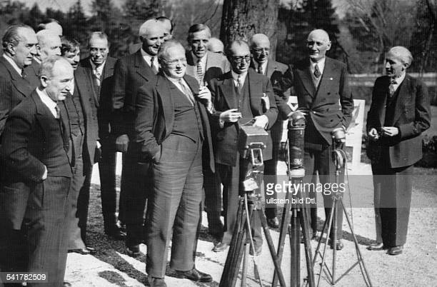 Conference of the Council of the League of Nations in Geneva the delegates talking at the microphone from left Edvard Benes behind benes Pierre Laval...