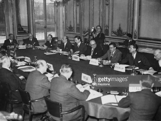 A conference of the Organisation for European Economic Cooperation at the the Château de la Muette Paris 4th March 1949 The conference is presided...