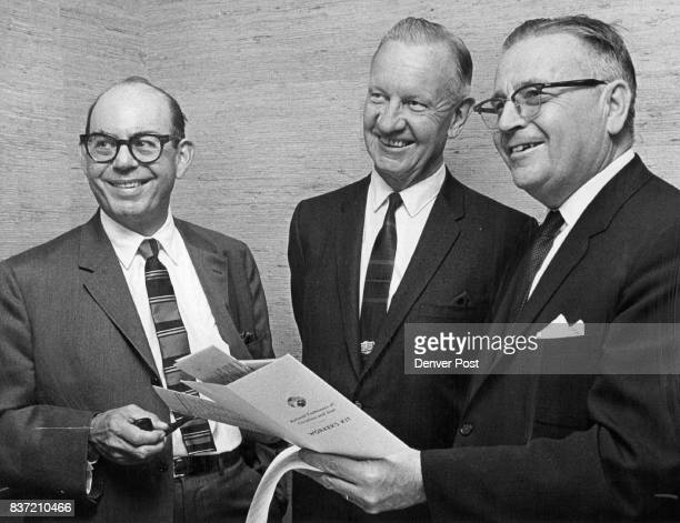 Conference Planners Left to right King Shwayder president of Samsonite Corp Arthur Baldwin prominent civic leader and Chester Alter chancellor of the...