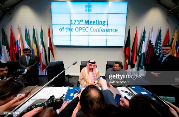 Conference President Saudi Arabia's Energy Minister Khaled alFalih and OPEC Secretary General Mohammed Barkindo answer journalsists at the start of...