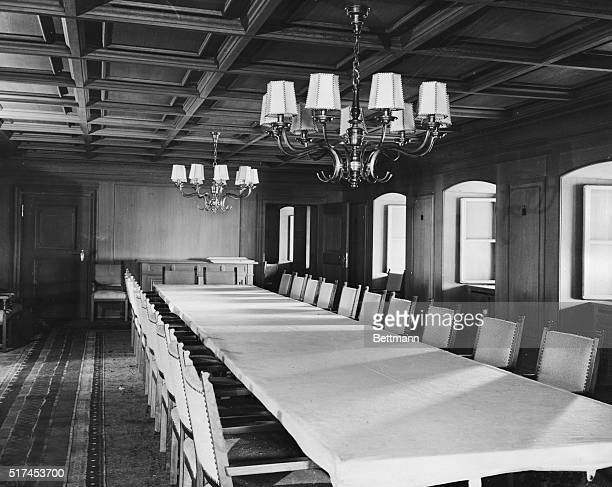 Conference room and dining hall of Adolf Hitler's 'Eagle Nest' The table seats 26 Here were many celebrations of victories and here plans were made...