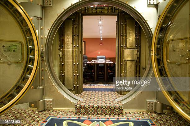 conference room behind large metal vault doors - premium access stock pictures, royalty-free photos & images