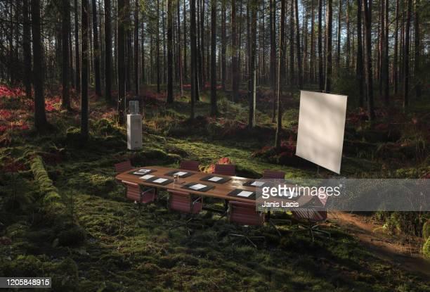 conference room in the forest - bureau ameublement photos et images de collection