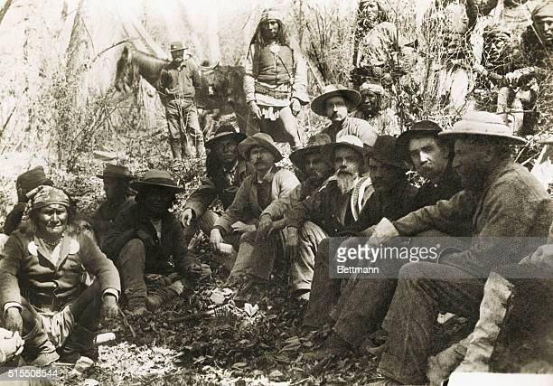 A conference with Geronimo with General George Crook on the right and Geronimo on the left