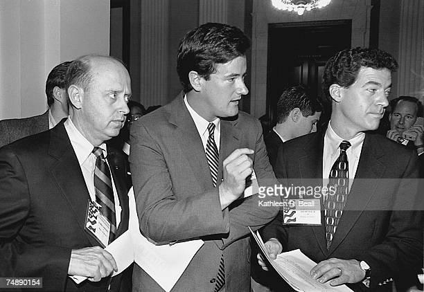 CONFERENCEFreshmen representatives James Longley RMaine Joe Scarborough RFla and Sam Brownback RKan talk to reporters