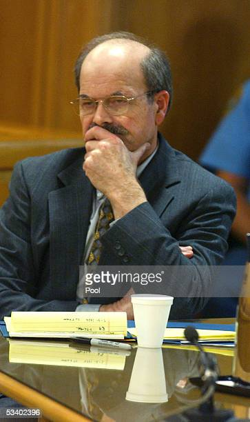 Confessed serial killer Dennis Rader known as BTK listens to testimony in the sentening phase of his trial in Sedgwick County Court August 17 2005 in...