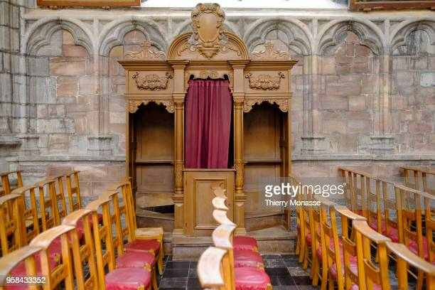 A confessional of the Minor basilica of SaintsPierreetPaul