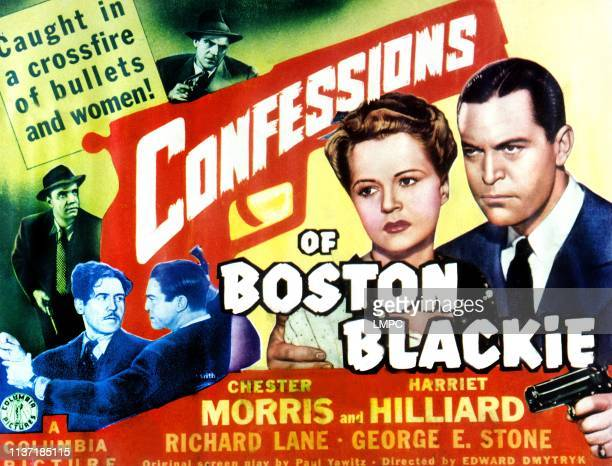 Confessions Of Boston Blackie lobbycard Richard Lane Kenneth MacDonald Chester Morris Harriet Hilliard 1941