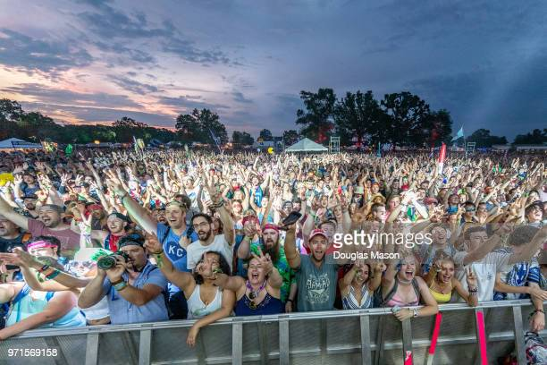 Confetti and crowd during Moon Taxi at the Bonnaroo Music and Arts Festival 2018 on June 10 2018 in Manchester Tennessee