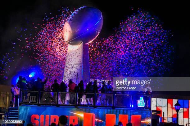 Confetti and fans surround the Lombardi Trophy replica at Super Bowl Live in Atlanta ahead of the coming weekend's Super Bowl LIII between the New...