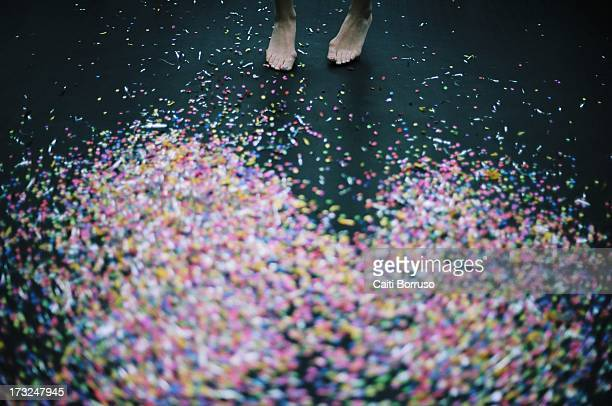 Confetti and feet on a trampoline