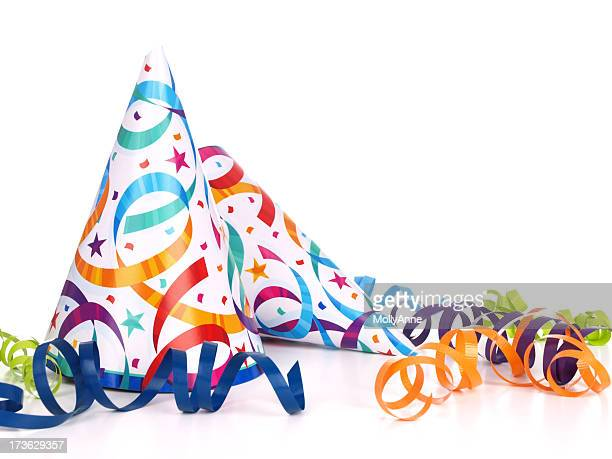 Confetti and streamer printed conical party hats