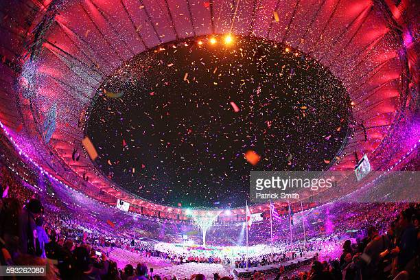 Confetti are released in the Cidade Maravilhosa segment during the Closing Ceremony on Day 16 of the Rio 2016 Olympic Games at Maracana Stadium on...