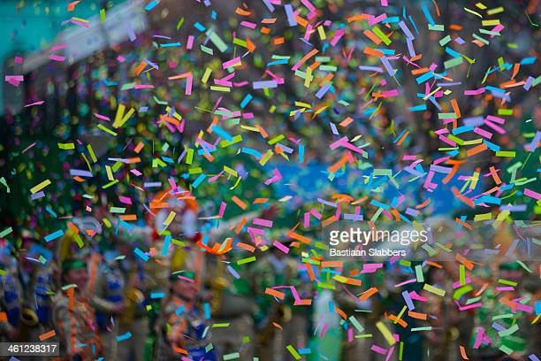confetti at new years day parade - mummers parade stock pictures, royalty-free photos & images