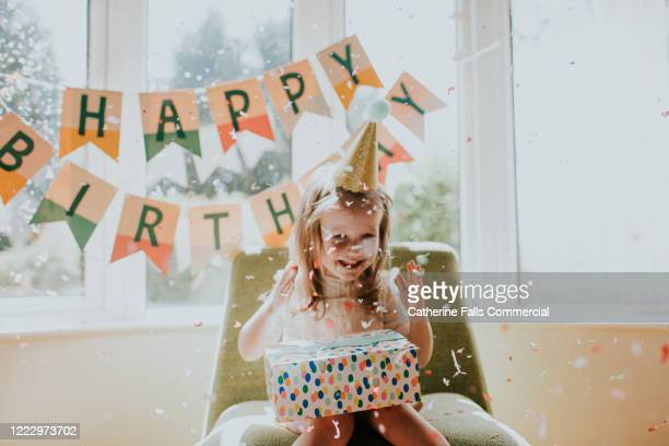 confetti birthday girl - celebration stock pictures, royalty-free photos & images