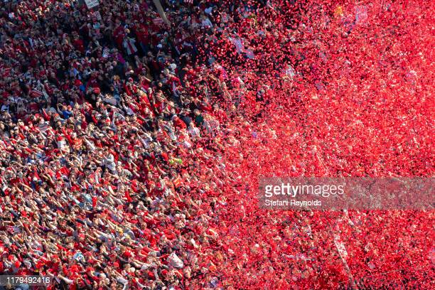 Confetti covers the crowd gathered for the Washington Nationals parade celebrating their World Series victory over the Houston Astros on November 2,...