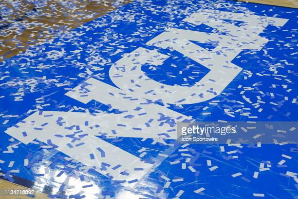 Confetti covers the NCAA Logo after during the NCAA Division II Final Four Championship basketball game between the Northwest Missouri State Bearcats...