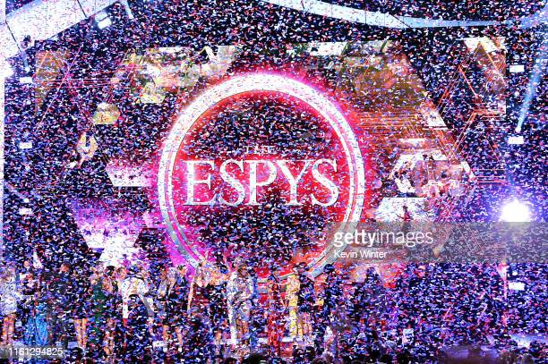 Confetti drops after the United States Women's National Soccer Team accepted the Best Team award onstage during The 2019 ESPYs at Microsoft Theater...