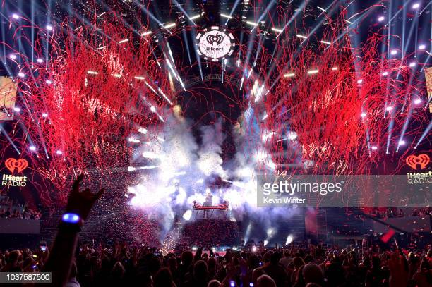 Confetti drops while Kygo and Conrad Sewell perform onstage during the 2018 iHeartRadio Music Festival at TMobile Arena on September 21 2018 in Las...