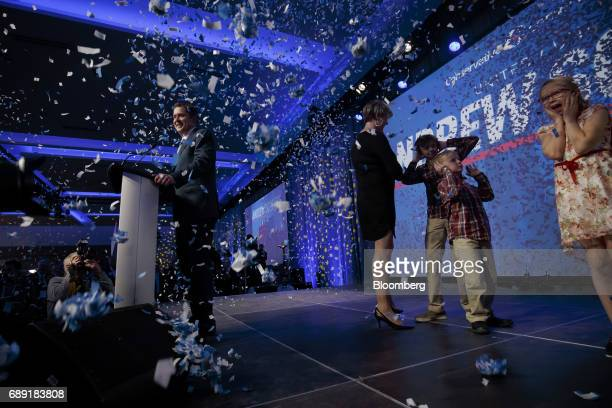 Confetti fall as Andrew Scheer leader of Canada's Conservative Party left speaks after being named the party's next leader during the Conservative...