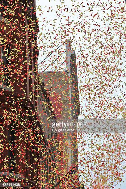 Confetti falling from a downtown office building