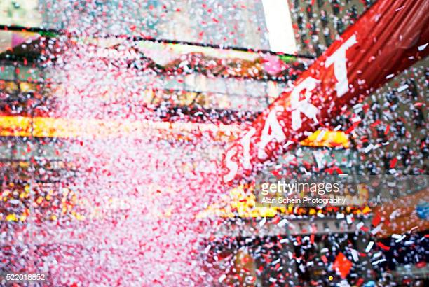 Confetti Falling on Starting Line