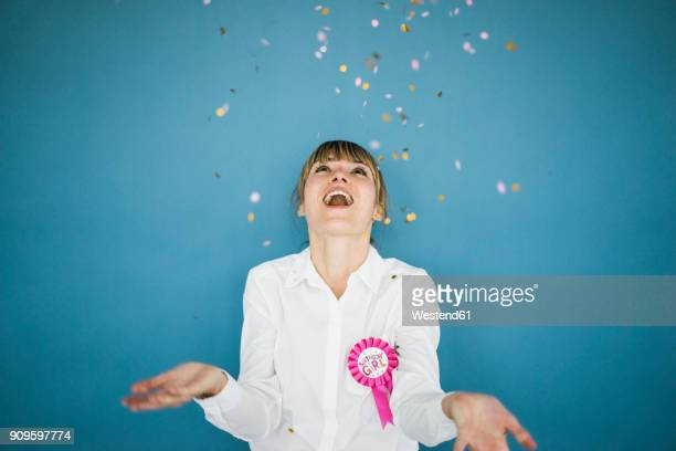 confetti falling on woman celebrating her birthday - blouse ストックフォトと画像