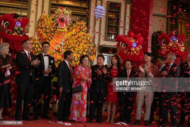 Confetti falls after a ribbon cutting during the celebratory grand opening of Resorts World Las Vegas hotel and casino on June 24, 2021 in Las Vegas,...