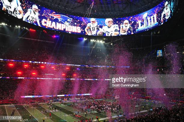 Confetti falls after the New England Patriots defeat the Los Angeles Rams 133 during Super Bowl LIII at MercedesBenz Stadium on February 03 2019 in...