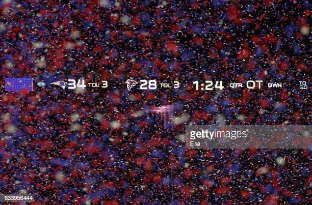 Confetti falls after the Patriots defeat the Falcons 3428 during Super Bowl 51 at NRG Stadium on February 5 2017 in Houston Texas