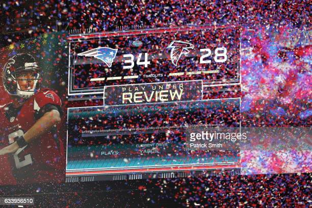Confetti falls after the Patriots defeat the Falcons 34-28 in ovetime during Super Bowl 51 at NRG Stadium on February 5, 2017 in Houston, Texas.