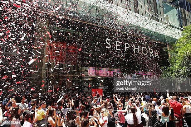 Confetti falls as Sephora opens the doors to its Westfield Pitt Street Mall store on December 5 2014 in Sydney Australia This is the first Sephora...