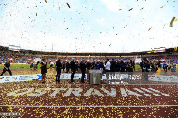 Confetti falls as Team Americas celebrate victory following day two of the IAAF Continental Cup at Mestsky Stadium on September 9 2018 in Ostrava...