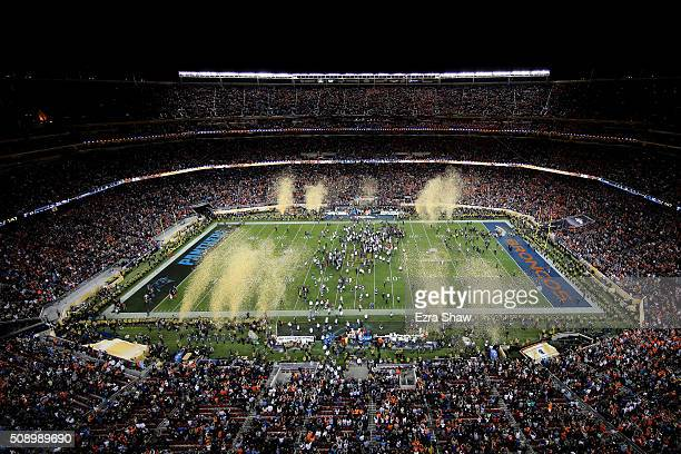Confetti falls as the Denver Broncos celebrate defeating the Carolina Panthers 2410 in Super Bowl 50 at Levi's Stadium on February 7 2016 in Santa...