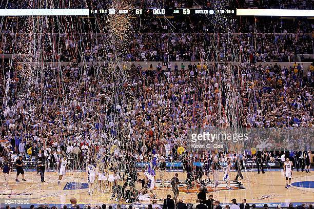 Confetti falls as the Duke Blue Devils celebrate after they won 6159 against the Butler Bulldogs during the 2010 NCAA Division I Men's Basketball...
