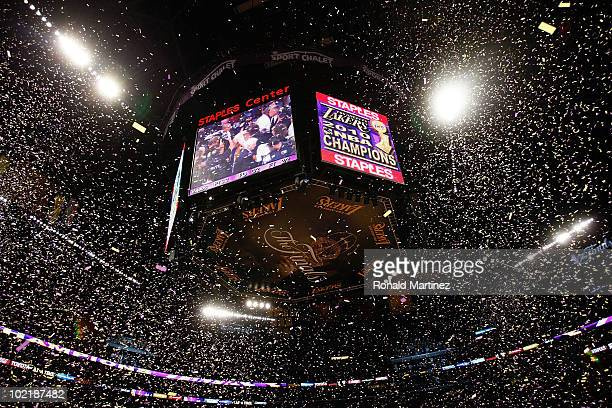 Confetti falls as the Los Angeles Lakers win the 2010 NBA Championship 8379 against the Boston Celtics in Game Seven of the 2010 NBA Finals at...