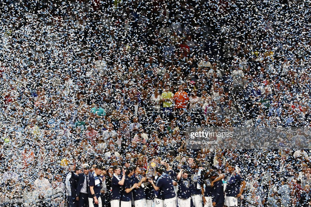 Confetti falls as the Villanova Wildcats celebrate after defeating the Michigan Wolverines during the 2018 NCAA Men's Final Four National Championship game at the Alamodome on April 2, 2018 in San Antonio, Texas. Villanova defeated Michigan 79-62.