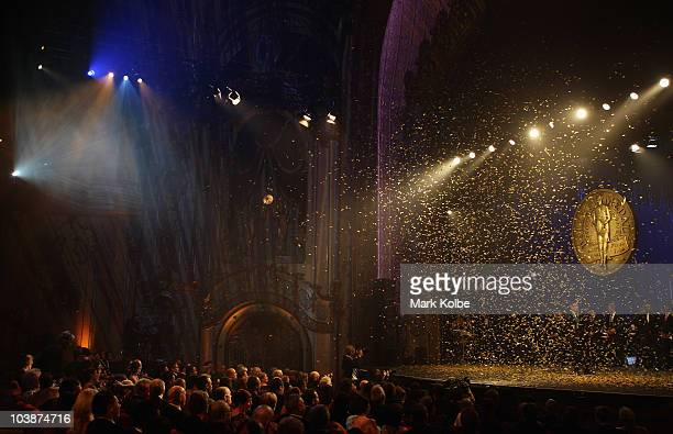 Confetti falls as Todd Carney is presented with the Dally M medal at the 2010 Dally M Awards at the State Theatre on September 7, 2010 in Sydney,...